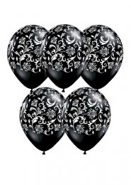 Black Damask Pattern Party Balloons Pack 5