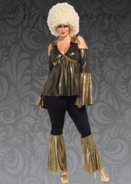 Womens Plus Size Gold 70s Disco Diva Costume