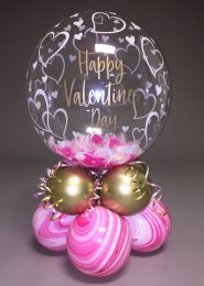 Personalised Valentines Feather Filled Bubble Centrepiece
