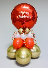 Inflated Merry Christmas Tall Red and Gold Balloon Centrepiece