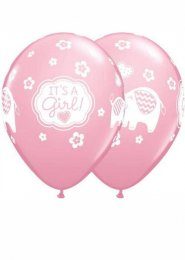 Pink Cute Baby Elephant Its a Girl Party Balloons Pack 5
