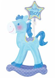 Inflated Blue Baby Boy Rocking Horse Airwalker Balloon