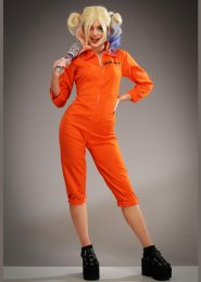 Womens Harley Quinn Style Orange Prison Jumpsuit Costume
