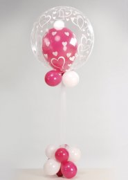 Pink Heart Deco Bubble Balloon Centrepiece