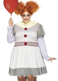 Womens Plus Size Grey It Clown Style Costume