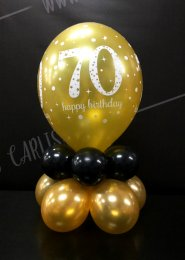 Black And Gold 70th Birthday Balloon Centrepiece