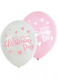 Pink On Your Christening Day Party Balloons Pk6