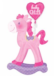 Inflated Pink Baby Girl Rocking Horse Large Airwalker Balloon