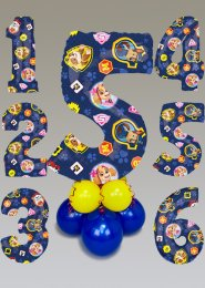 Inflated Paw Patrol Mid-Size Number Balloon Centrepiece