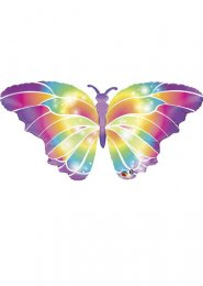 Inflated Large Rainbow Butterfly Helium Balloon