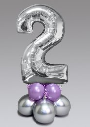 Inflated Mid-Size Silver and Lilac Number 2 Balloon Centrepiece