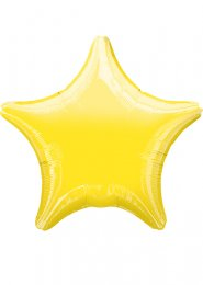 Inflated Metallic Bright Yellow Star Helium Balloon