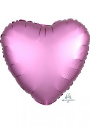 Inflated Flamingo Pink Satin Luxe Heart Helium Balloon