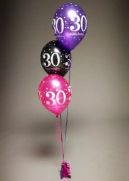 Pink And Purple 30th Birthday 3 Balloon Cluster