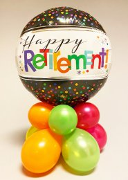 Bright Happy Retirement Inflated Balloon Centrepiece