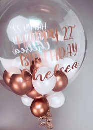 Rose Gold and White Personalised Mini Balloon Bubble Balloon