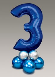 Chrome Blue and Silver Large Number 3 Balloon Centrepiece