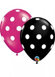 Inflated Magenta Pink or Black Polka Dot Helium Party Balloon