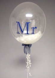 Navy And Ivory Mr Wedding Feather Filled Deco Bubble Balloon