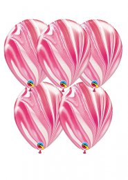 Pink and White Marble Pattern Party Balloons Pack 5