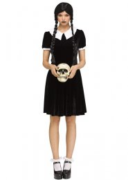 Womens Wednesday Addams Style Gothic Girl Costume
