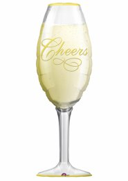 Inflated Cheers Champagne Glass Supershape Helium Balloon