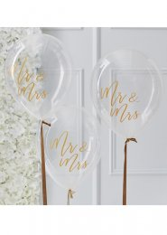Gold Mr & Mrs Clear Wedding Balloons Pk5