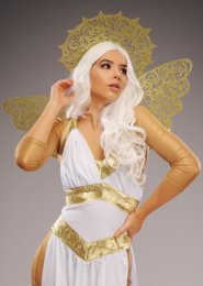 Deluxe Womens Gold Glitter Angel Wings and Halo