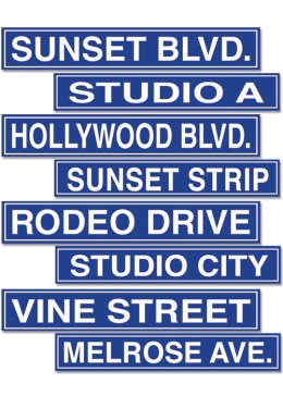Hollywood Party Street Sign Cut Outs Pk4