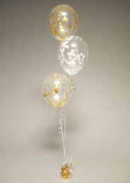 Gold And White Confetti 3 Balloon Cluster