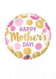 Mothers Day Pink and Gold Dots Mini Air Filled Balloon on Stick