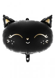 Inflated Gothic Black Cat Shape Halloween Helium Balloon