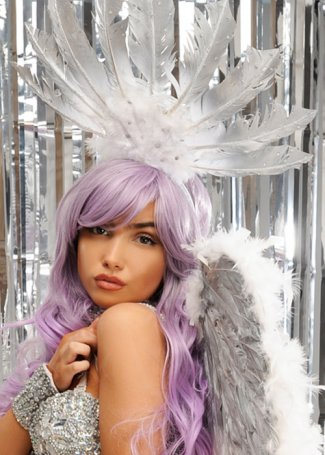 Aphrodite White & silver Diamante Feather Festival Headpiece