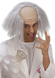 Mens Einstein Headpiece Mad Scientist Bald Head with Grey Hair
