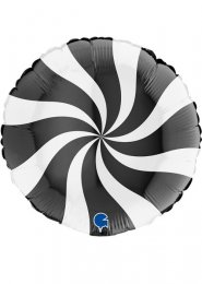 Inflated Black and White Candy Swirl Helium Balloon