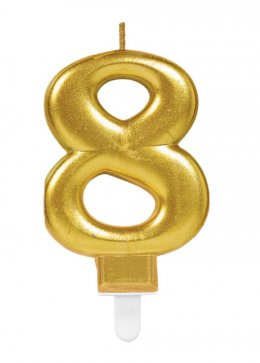 Gold Number 8 Birthday Cake Candle