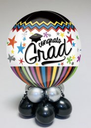 Inflated Large Congrats Grad Orbz Balloon Centrepiece