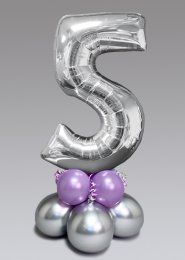 Inflated Mid-Size Silver and Lilac Number 5 Balloon Centrepiece