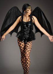 Womens Gothic Large Black Dragon Wings