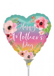 Ombre Flowers Mothers Day Heart Mini Air Filled Balloon on Stick