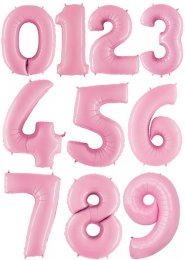 Large Pastel Baby Pink Number Inflated Helium Balloon