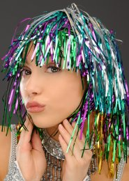 Multi-Coloured Tinsel Wig