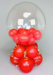 Inflated Red Mini Heart Filled Bubble Balloon Centrepiece
