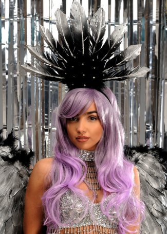 Eternity Black & silver Diamante Feather Festival Headpiece