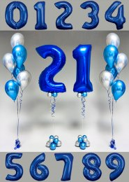 Blue and Silver Inflated Birthday Helium Number Balloons Set