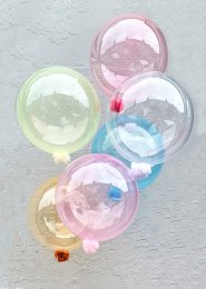 Inflated Large Mixed Pastel Clearz Bubble Helium Balloon Bouquet
