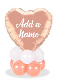 Personalised Rose Gold Heart Balloon Centrepiece