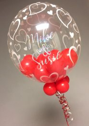 Red Personalised Wedding Mini Balloon Filled Bubble Balloon