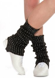 Black and Silver Stirrup Dance Leg Warmers 60cm