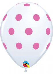 Inflated White and Pink Polka Dot Helium Party Balloon